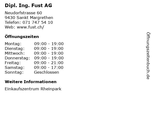 Dipl. Ing. Fust AG in Sankt Margrethen: Adresse und Öffnungszeiten