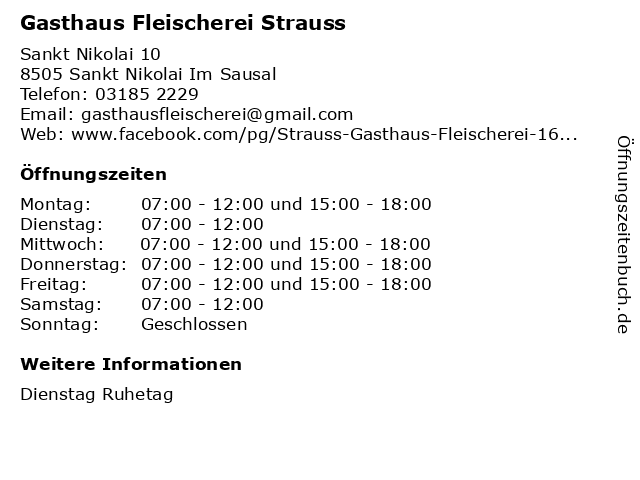 Gasthaus Fleischerei Strauss in Sankt Nikolai Im Sausal: Adresse und Öffnungszeiten