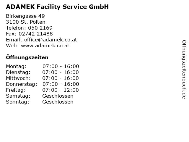 ADAMEK Facility Service GmbH in Sankt Pölten: Adresse und Öffnungszeiten