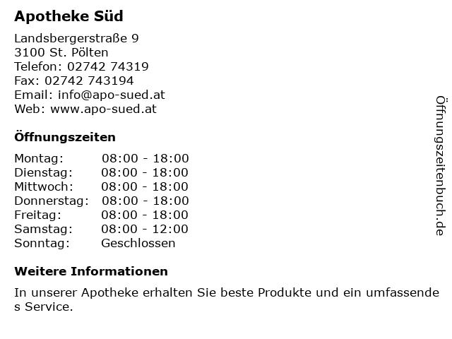 Apotheke Süd in Sankt Pölten: Adresse und Öffnungszeiten