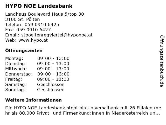 HYPO NOE Landesbank in Sankt Pölten: Adresse und Öffnungszeiten