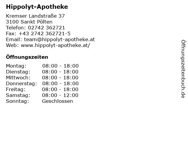 Hippolyt-Apotheke in Sankt Pölten: Adresse und Öffnungszeiten