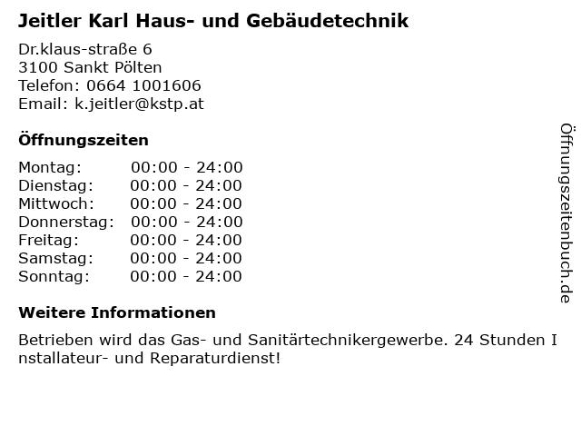 Jeitler Karl Haus- und Gebäudetechnik in Sankt Pölten: Adresse und Öffnungszeiten