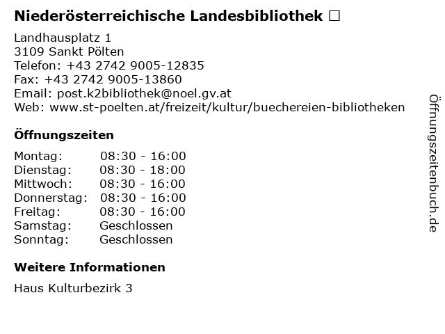 Landesbibliothek Niederösterreich in Sankt Pölten: Adresse und Öffnungszeiten