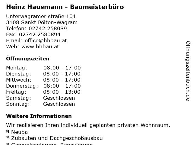 Heinz Hausmann - Baumeisterbüro in Sankt Pölten-Wagram: Adresse und Öffnungszeiten