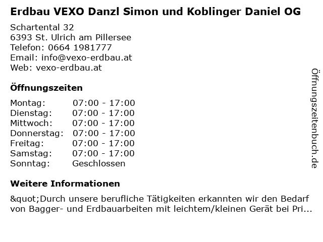 Erdbau VEXO Danzl Simon und Koblinger Daniel OG in Sankt Ulrich am Pillersee: Adresse und Öffnungszeiten