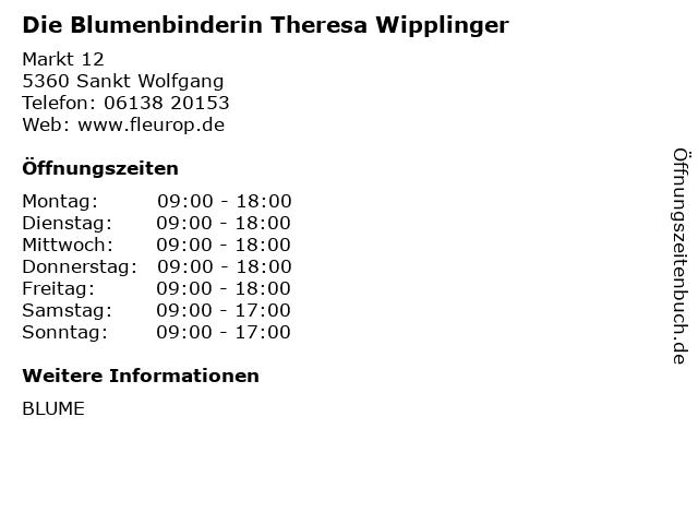 Die Blumenbinderin Theresa Wipplinger in Sankt Wolfgang: Adresse und Öffnungszeiten