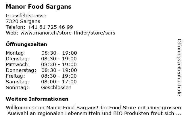 Manor Food Sargans in Sargans: Adresse und Öffnungszeiten