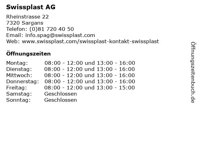 Swissplast AG in Sargans: Adresse und Öffnungszeiten