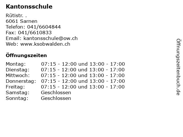 Kantonsschule in Sarnen: Adresse und Öffnungszeiten