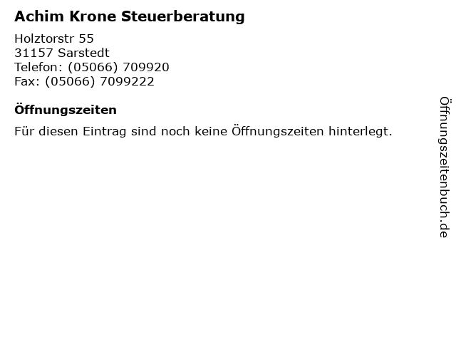 Achim Krone Steuerberatung in Sarstedt: Adresse und Öffnungszeiten