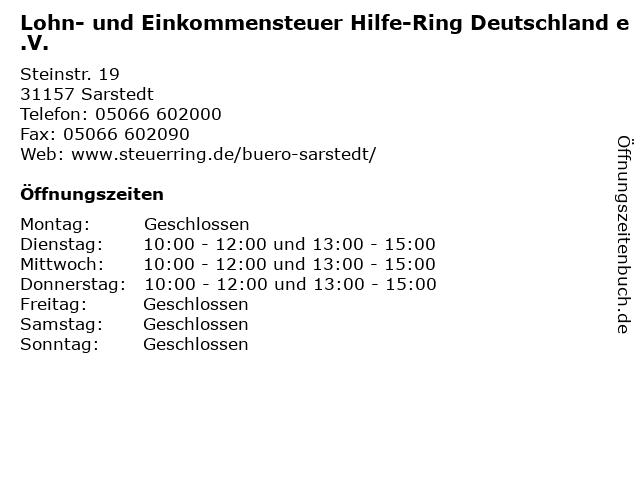 Lohn- und Einkommensteuer Hilfe-Ring Deutschland e.V. in Sarstedt: Adresse und Öffnungszeiten