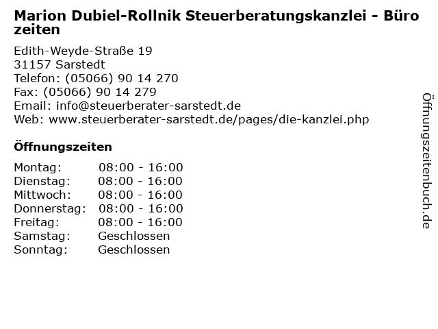 Marion Dubiel-Rollnik Steuerberatungskanzlei - Bürozeiten in Sarstedt: Adresse und Öffnungszeiten