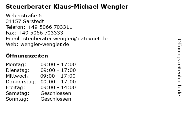 Steuerberater Klaus-Michael Wengler in Sarstedt: Adresse und Öffnungszeiten