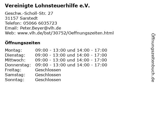 Vereinigte Lohnsteuerhilfe e.V. in Sarstedt: Adresse und Öffnungszeiten