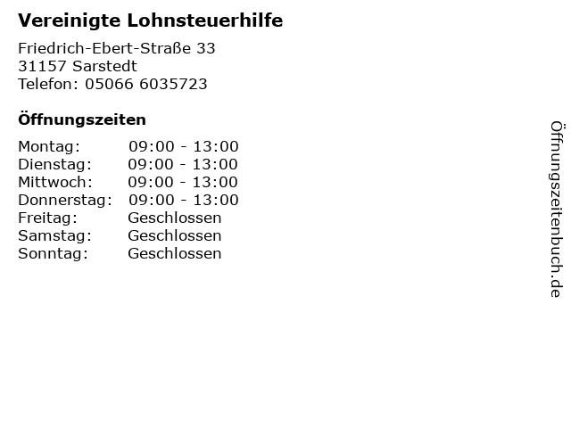 Vereinigte Lohnsteuerhilfe in Sarstedt: Adresse und Öffnungszeiten
