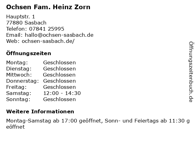 Ochsen Fam. Heinz Zorn in Sasbach: Adresse und Öffnungszeiten