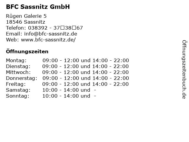 BFC Sassnitz GmbH in Sassnitz: Adresse und Öffnungszeiten