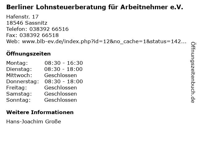 Berliner Lohnsteuerberatung für Arbeitnehmer e.V. in Sassnitz: Adresse und Öffnungszeiten