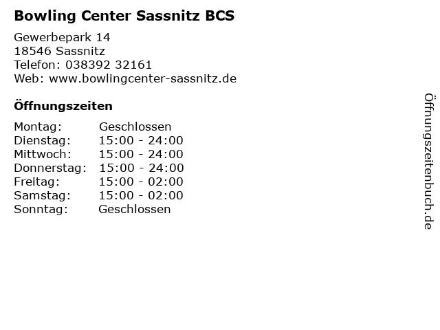 Bowling Center Sassnitz BCS in Sassnitz: Adresse und Öffnungszeiten