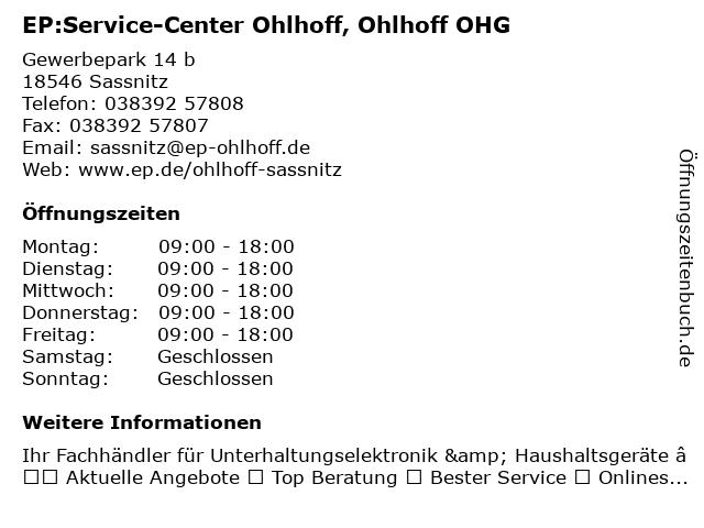 EP:Service-Center Ohlhoff in Sassnitz: Adresse und Öffnungszeiten