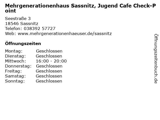 Mehrgenerationenhaus Sassnitz, Jugend Cafe Check-Point in Sassnitz: Adresse und Öffnungszeiten