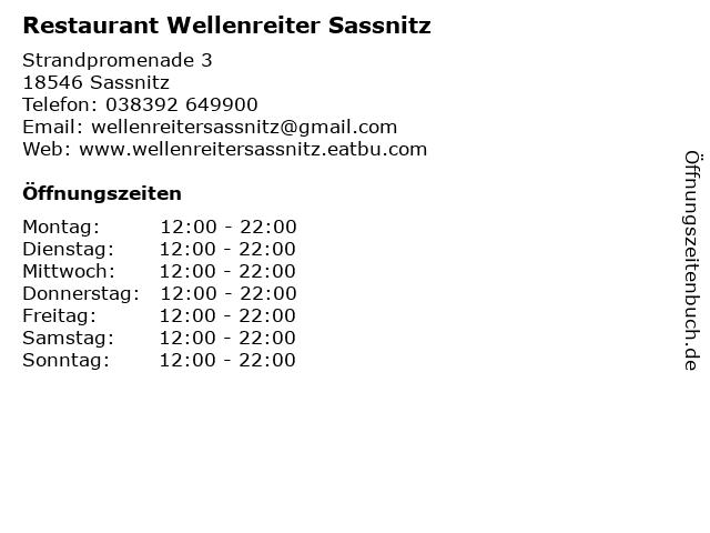 Restaurant Wellenreiter Sassnitz in Sassnitz: Adresse und Öffnungszeiten