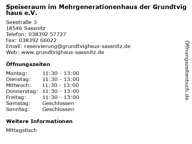 Speiseraum im Mehrgenerationenhaus der Grundtvighaus e.V. in Sassnitz: Adresse und Öffnungszeiten