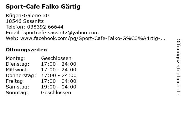 Sport-Cafe Falko Gärtig in Sassnitz: Adresse und Öffnungszeiten