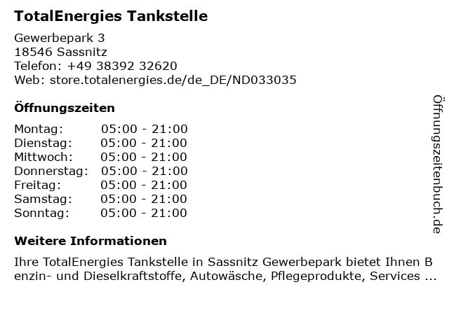 TotalEnergies Tankstelle in Sassnitz: Adresse und Öffnungszeiten