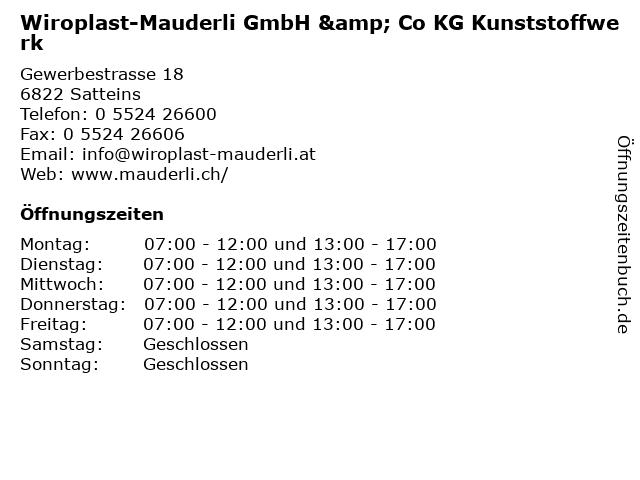 Wiroplast-Mauderli GmbH & Co KG Kunststoffwerk in Satteins: Adresse und Öffnungszeiten