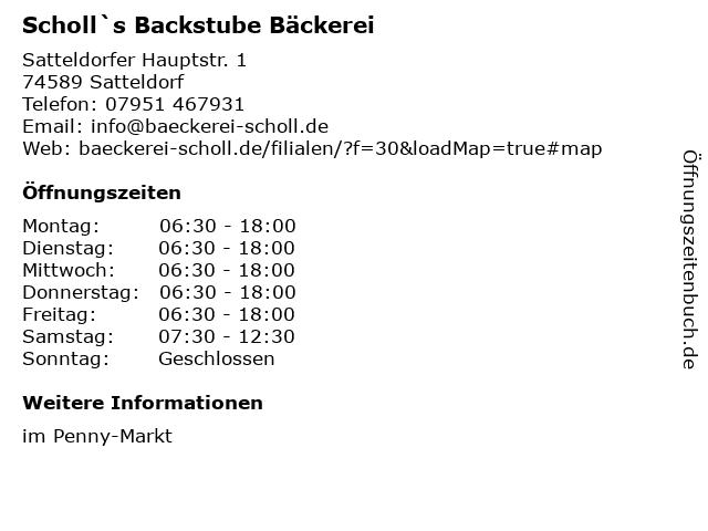 Scholl`s Backstube Bäckerei in Satteldorf: Adresse und Öffnungszeiten