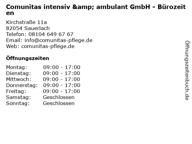 Comunitas intensiv & ambulant GmbH - Bürozeiten in Sauerlach: Adresse und Öffnungszeiten