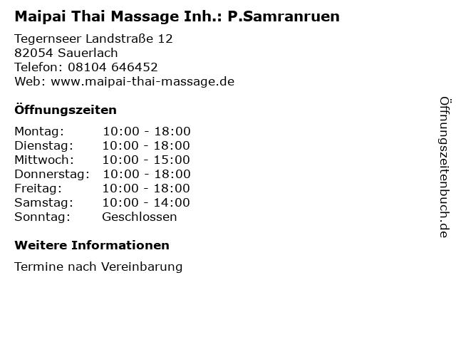 Maipai Thai Massage Inh.: P.Samranruen in Sauerlach: Adresse und Öffnungszeiten