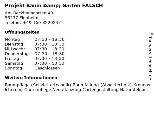 Projekt Baum & Garten in Saulheim: Adresse und Öffnungszeiten