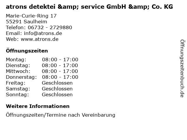 atrons detektei & service GmbH & Co. KG in Saulheim: Adresse und Öffnungszeiten