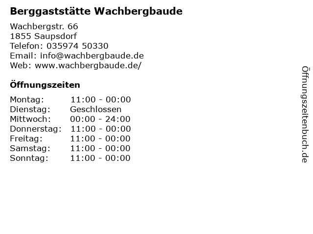 Berggaststätte Wachbergbaude in Saupsdorf: Adresse und Öffnungszeiten