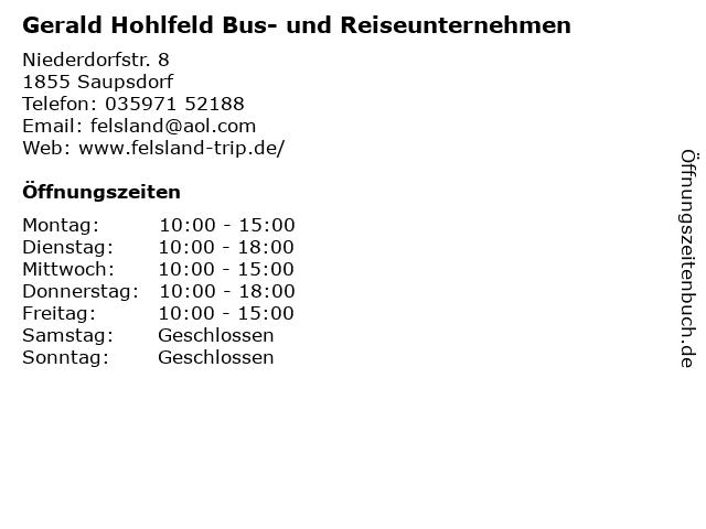 Gerald Hohlfeld Bus- und Reiseunternehmen in Saupsdorf: Adresse und Öffnungszeiten