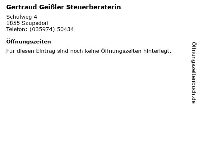 Gertraud Geißler Steuerberaterin in Saupsdorf: Adresse und Öffnungszeiten
