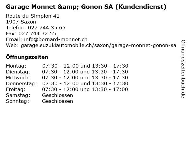Garage Monnet & Gonon SA (Kundendienst) in Saxon: Adresse und Öffnungszeiten