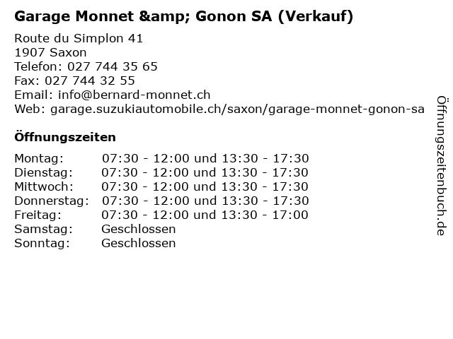 Garage Monnet & Gonon SA (Verkauf) in Saxon: Adresse und Öffnungszeiten