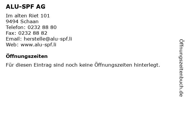 ALU-SPF AG in Schaan: Adresse und Öffnungszeiten