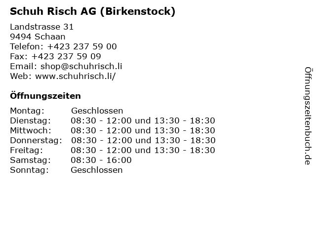 Schuh Risch AG (Birkenstock) in Schaan: Adresse und Öffnungszeiten