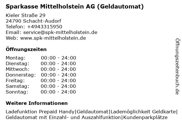 Sparkasse Mittelholstein AG - (Geldautomat Filiale) in Schacht-Audorf: Adresse und Öffnungszeiten