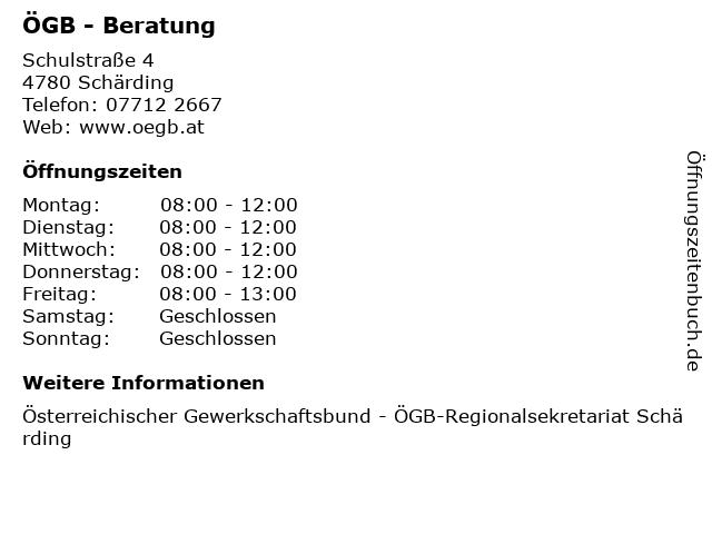 ÖGB - Beratung in Schärding: Adresse und Öffnungszeiten