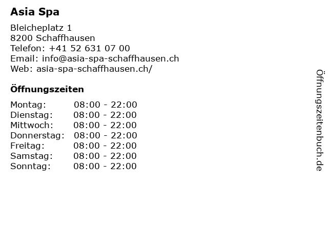 Asia Spa in Schaffhausen: Adresse und Öffnungszeiten