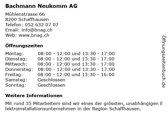 Bachmann Neukomm AG in Schaffhausen: Adresse und Öffnungszeiten