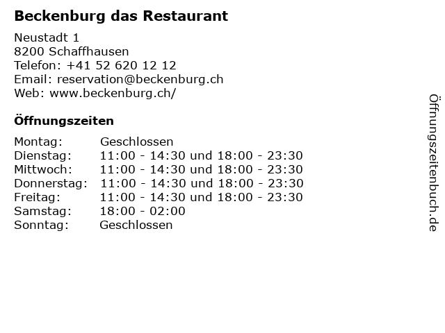 Beckenburg das Restaurant in Schaffhausen: Adresse und Öffnungszeiten