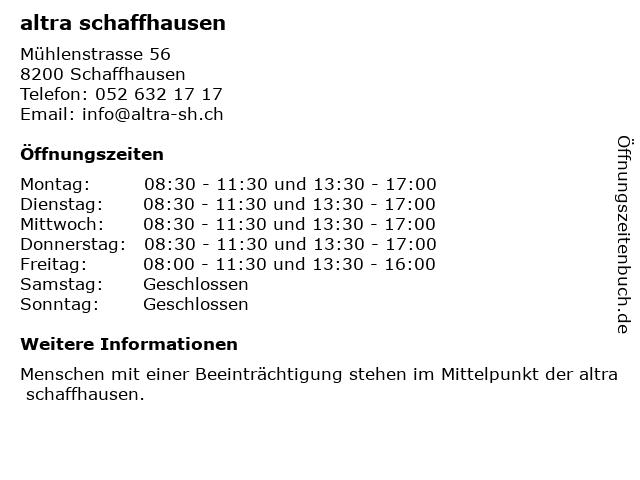 altra schaffhausen in Schaffhausen: Adresse und Öffnungszeiten