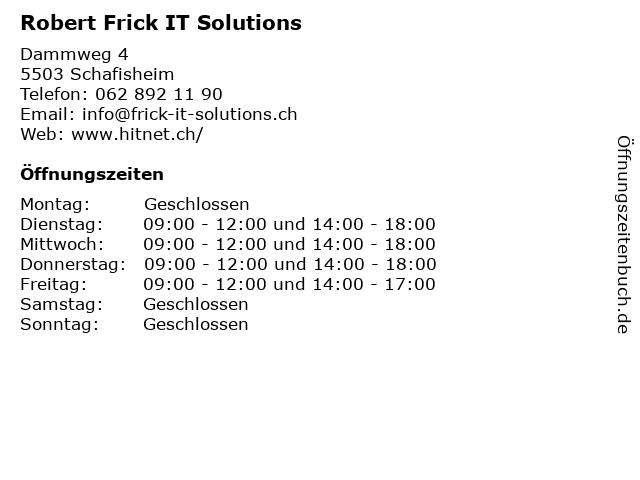 Robert Frick IT Solutions in Schafisheim: Adresse und Öffnungszeiten
